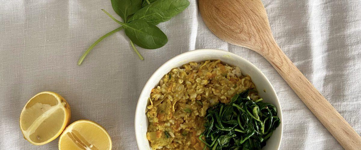 Ayurvedisches Kitchari mit Spinat
