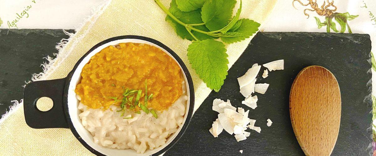 Ayurvedischer Kokosreis mit Mangocreme